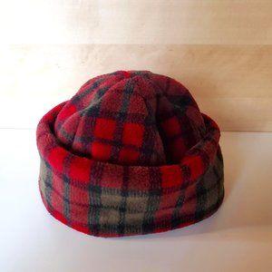 3/30$ 🍂 Plaid Fleece Vintage Winter Toque Hat Red Tartan